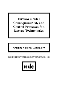 Environmental Consequences of and Control Processes for Energy Technologies, 1st Edition,Argonne National Laboratory,ISBN9780815512318