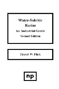 Water-Soluble Resins, 2nd Edition, 2nd Edition,Ernest W. Flick,ISBN9780815512745