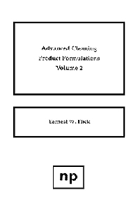 Advanced Cleaning Product Formulations, Vol. 2, 1st Edition,Ernest W. Flick,ISBN9780815513469