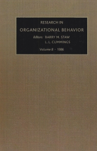 Research in Organizational Behavior - 3rd Edition - ISBN: 9780892325511