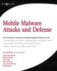 Mobile Malware Attacks and Defense, 1st Edition,Ken Dunham,ISBN9781597492980
