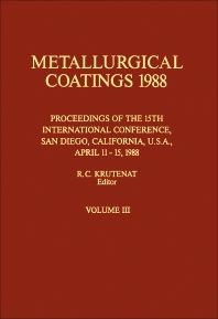 Metallurgical Coatings 1988 - 1st Edition - ISBN: 9781851669851, 9780080984858