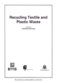 Recycling Textile and Plastic Waste - 1st Edition - ISBN: 9781855733060, 9780857093004
