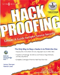 Cover image for Hack Proofing Linux
